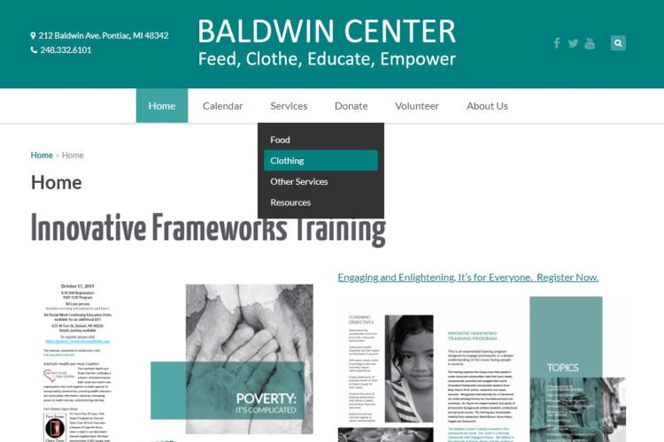 Baldwin Center website home page.