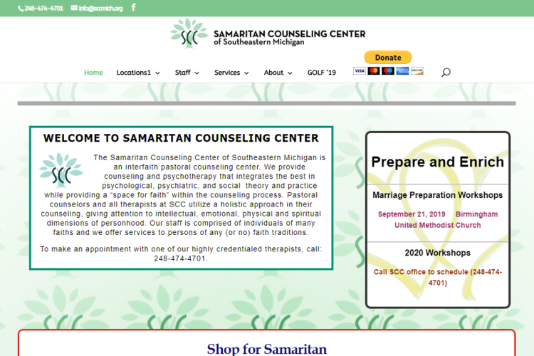 Samaritan Counseling Center website home page.